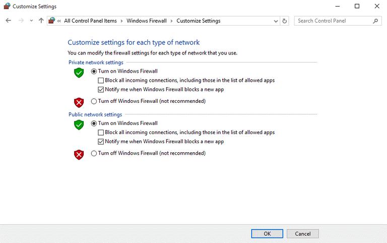 Check firewall on Windows
