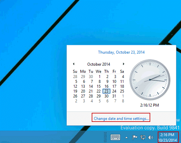 Change date and time settings