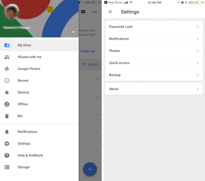 click settings on Google Drive