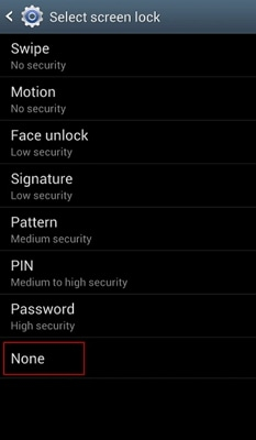 disable lock screen - step 4