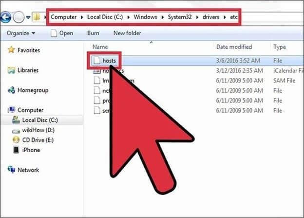 find hosts file on windows pc
