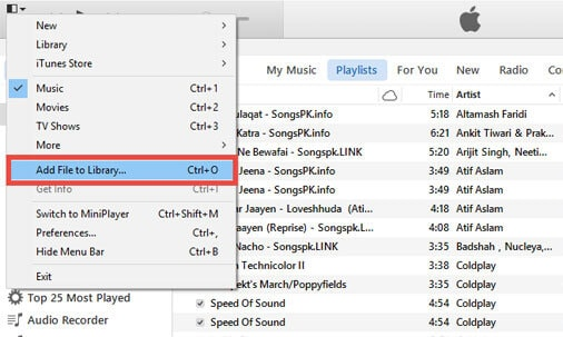 transfer the music to itunes