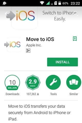 install and launch Move to iOS