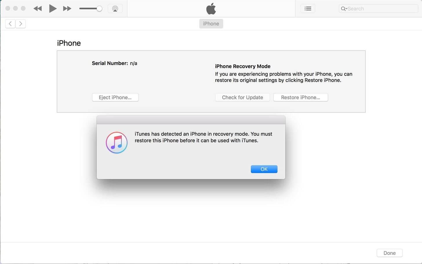 press the Restore iPhone button
