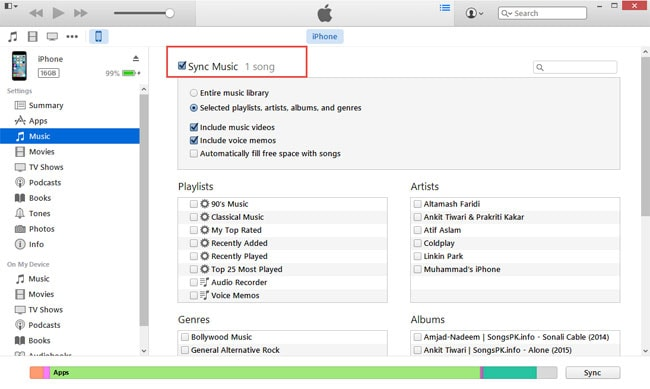 sync the music to itunes