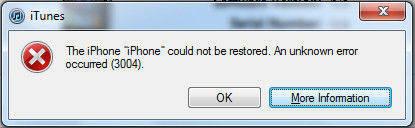 iTunes error 3004