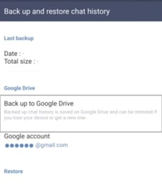 backup line chat to Google drive