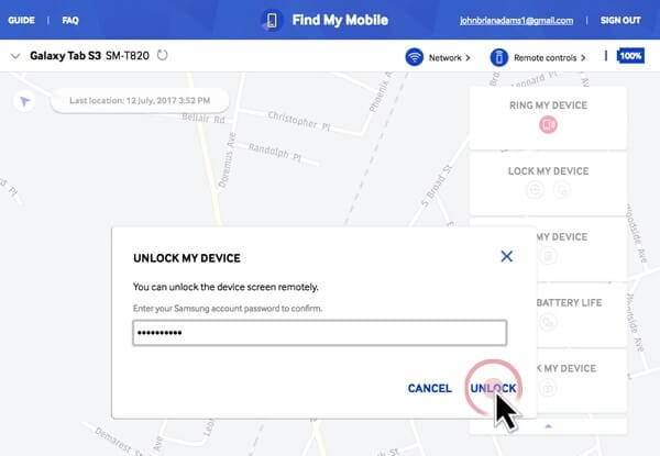 unlock samsung s5 with find my mobile