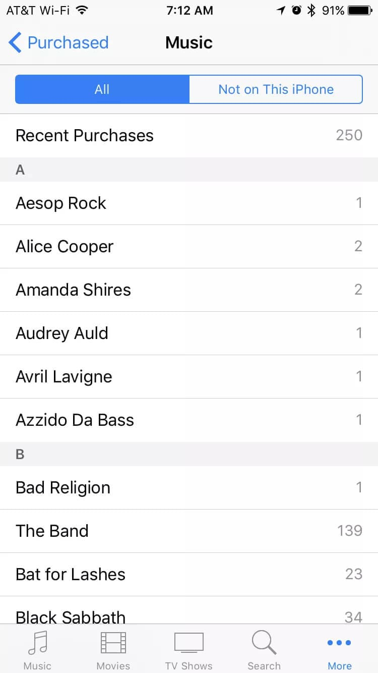 redownload music on iPhone