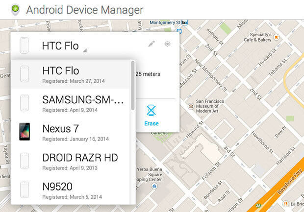 log in android device manager