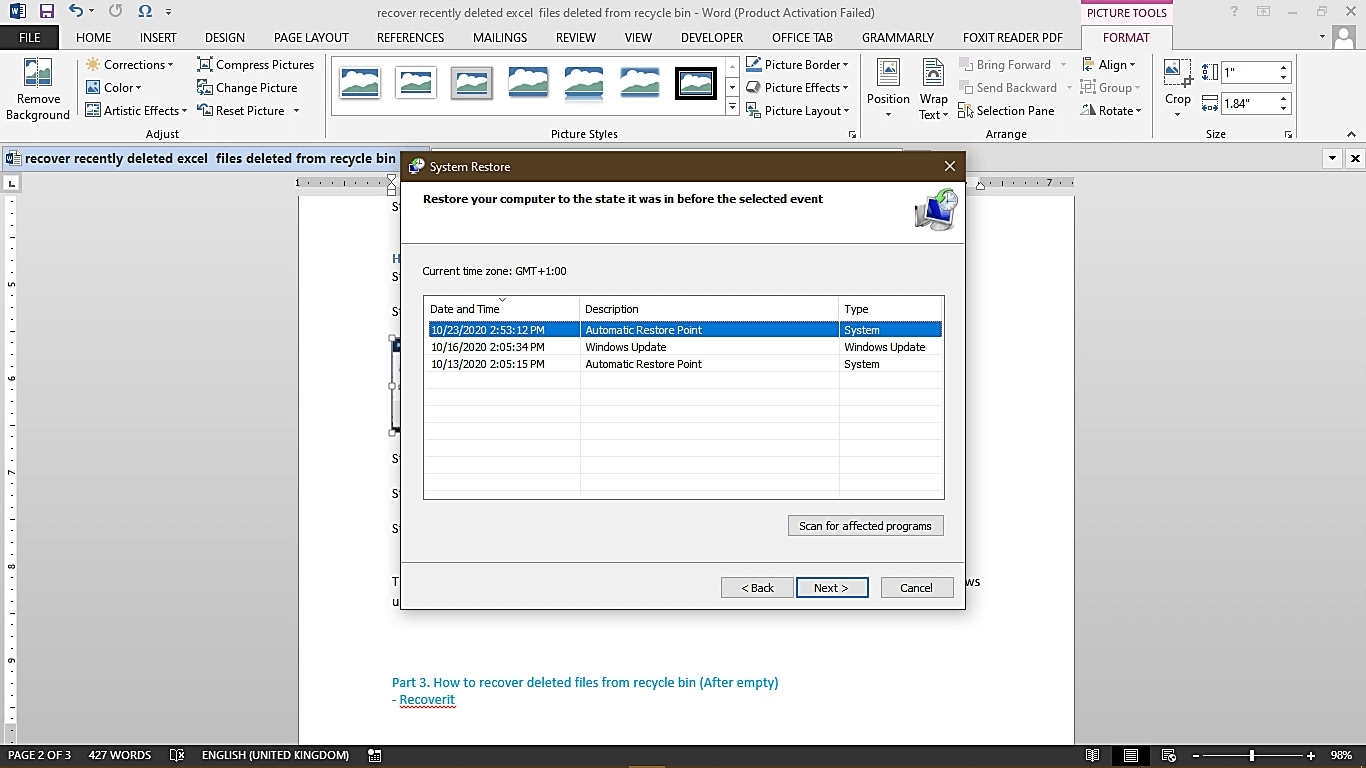 how to recover excel file deleted from recycle bin