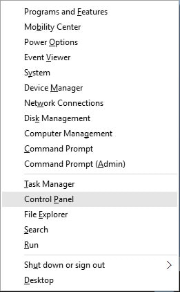 select the Control Panel