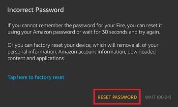 reset the password