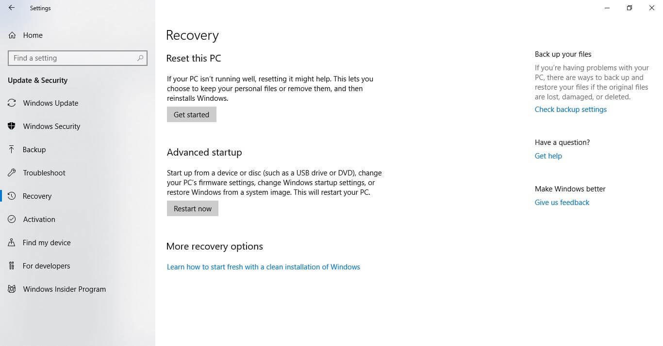 select the Recover tab