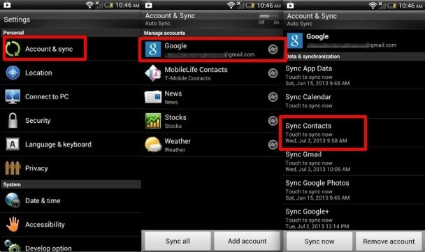 sync contacts