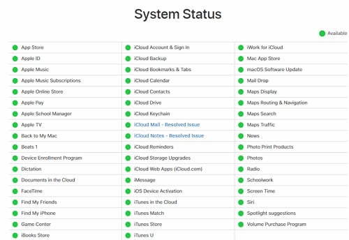 check apple system status
