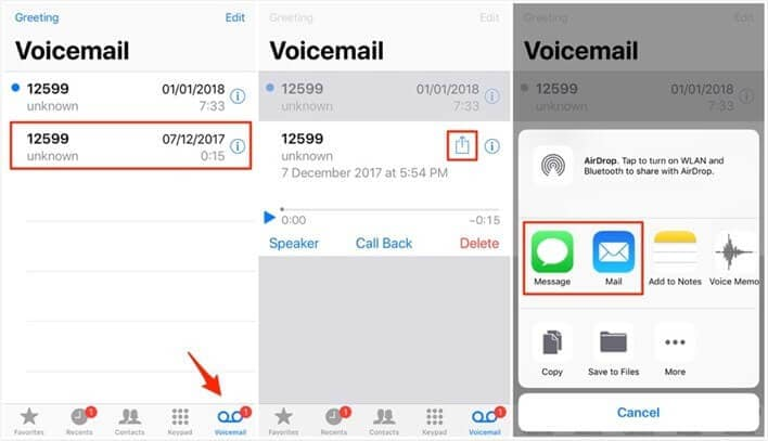 transfer voicemial with message and mail