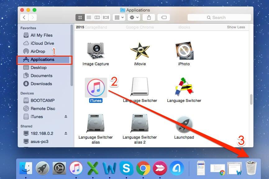 uninstall iTunes on Mac