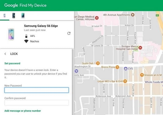 unlock android password with find my device