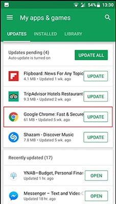 update chrome android