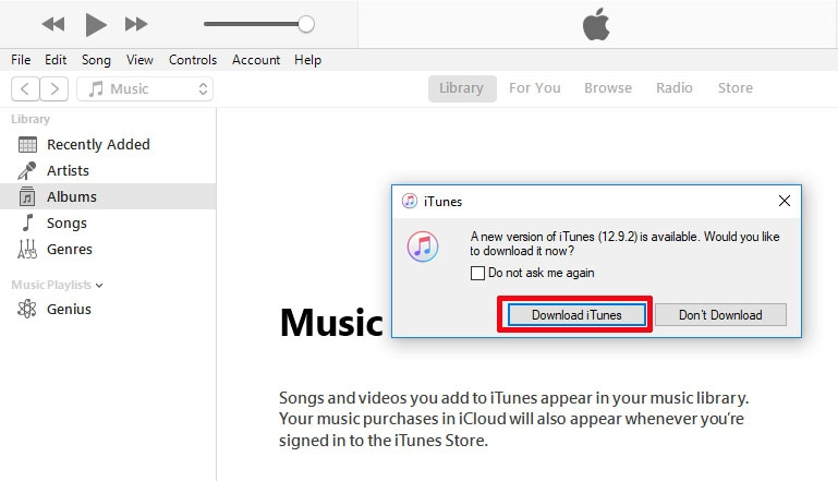 Click on Download iTunes button