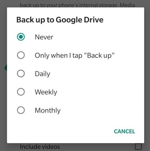 how to backup whatsapp media on android