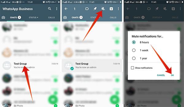 mute whatsapp group notification