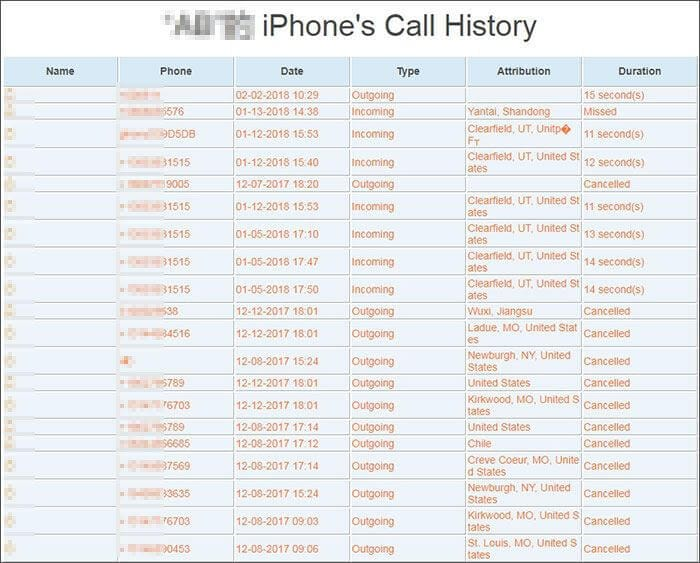 export iphone call history