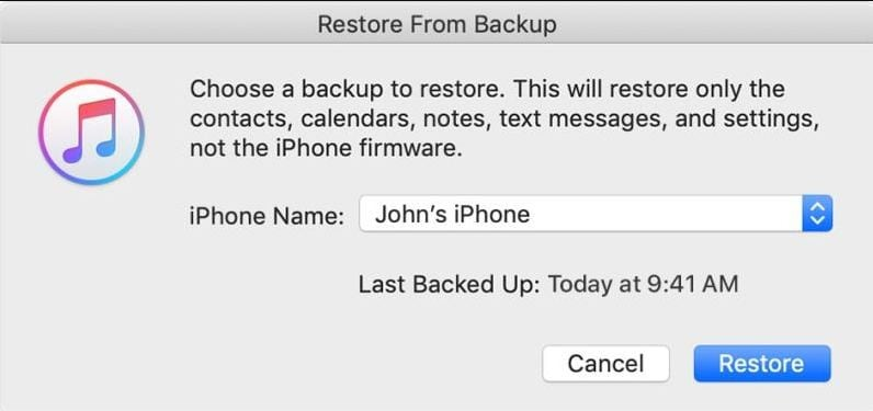 recover from the backup