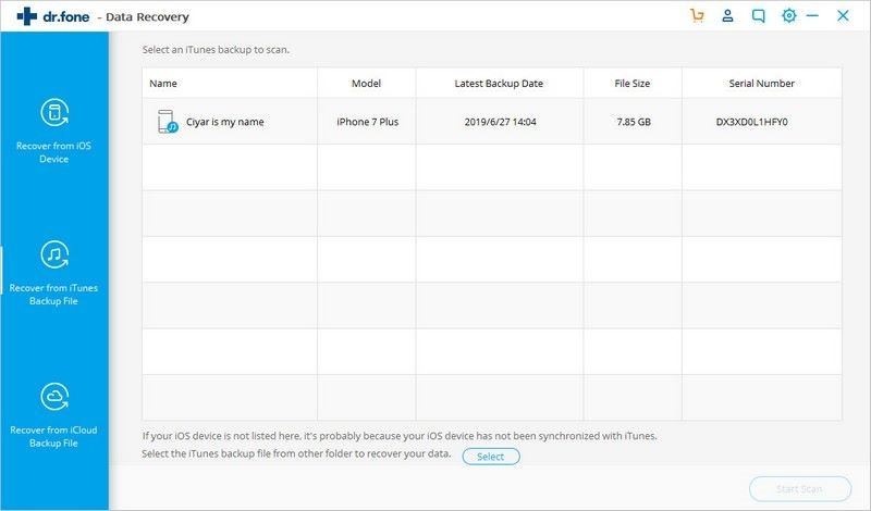 selectively recover contacts from iTunes backup