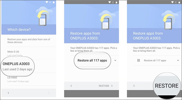 how do i restore my android phone from google backup
