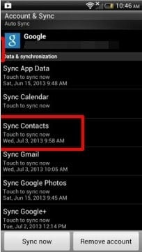 sync contacts from android to google