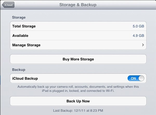how to backup iPad with iCloud