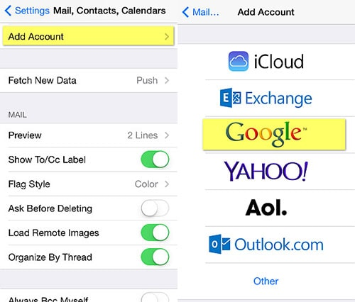 how to backup iphone contacts to google account