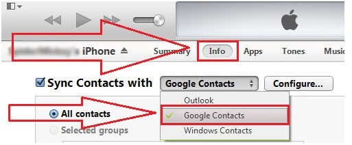 backup contact to itunes