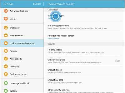 change password on samsung tablet