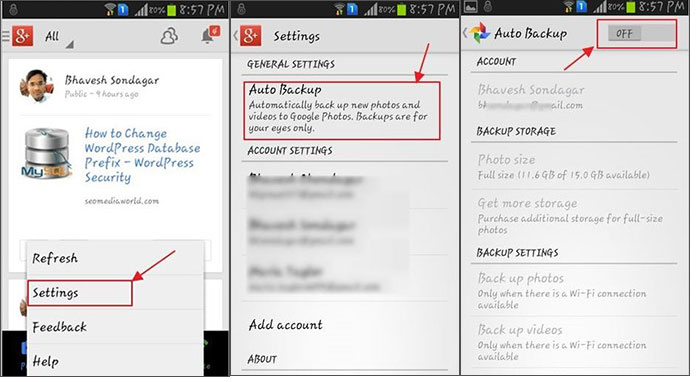 how to delete auto backup photos android