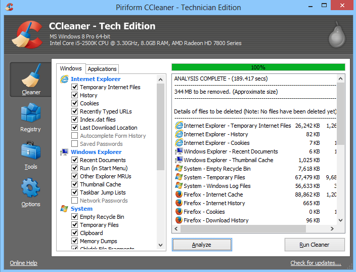 delete cache with CCleaner