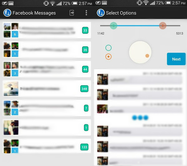 export facebook message on android