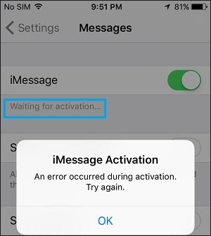 imessages waiting for activation