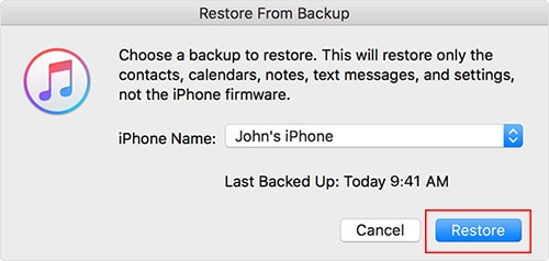 how to restore photos from itunes backup