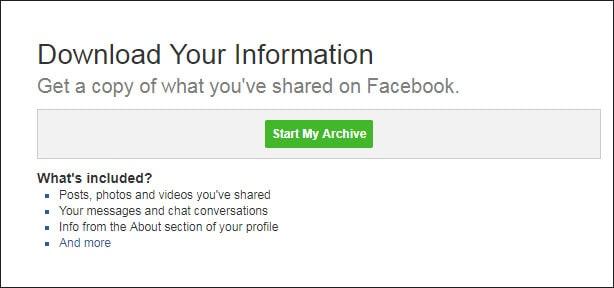 start archive facebook