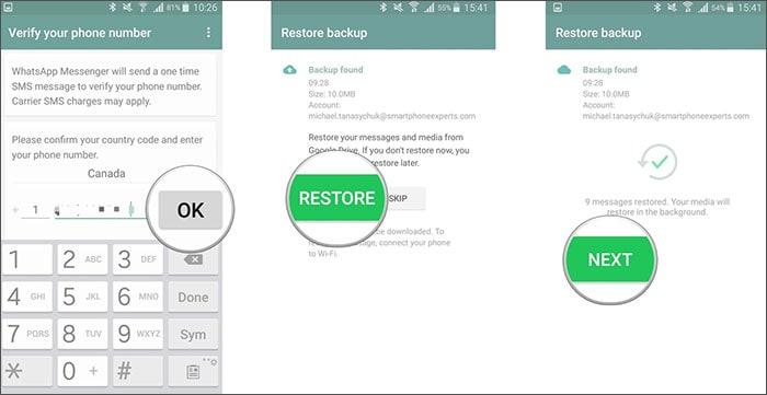 recover whatsapp account on new device