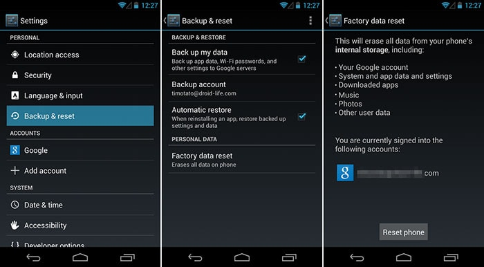 restore android to factory settings