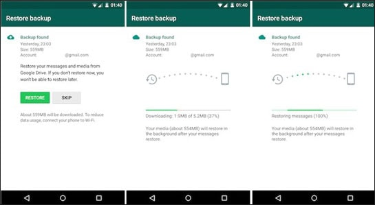 transfer WhatsApp messages from android to iphone using google drive