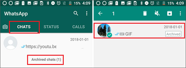 whatsapp archive message
