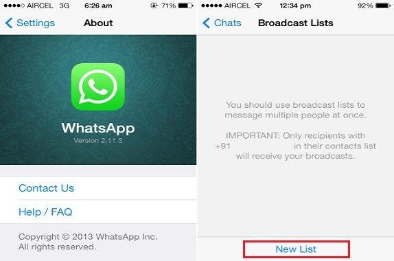 How does broadcast list work on WhatsApp