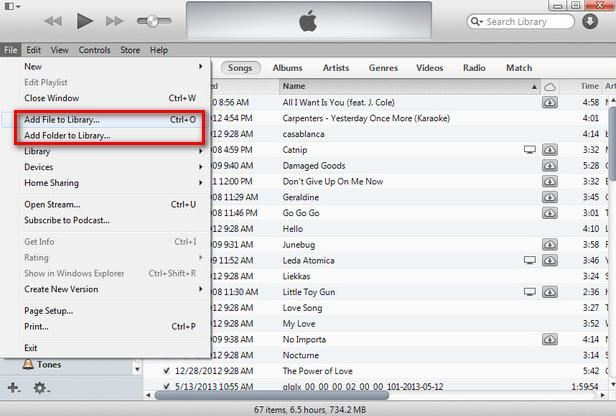 add a folder of music to iTunes