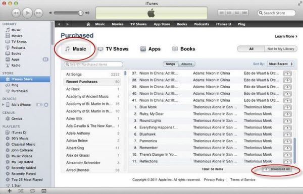transfer music to itunes from icloud