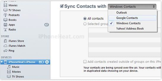 sync iphone to android